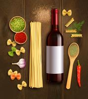 Affiche réaliste de composition de vin de pâtes sèches