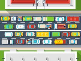Affiche vue de dessus d'embouteillage