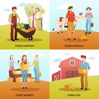 Concept de design de ferme de récolte d'automne vecteur