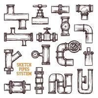 Système de tuyaux d'esquisse vecteur