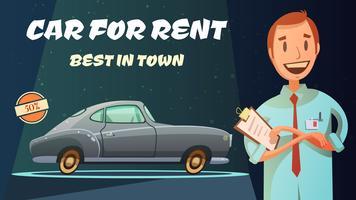 Meilleure affiche de bande dessinée rétro de voiture de location vecteur