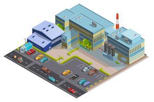 Image isométrique de la composition d'usine