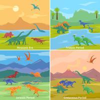 Dinosaures 2x2 Design Concept vecteur