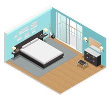 Affiche vue isométrique intérieure de chambre à coucher vecteur