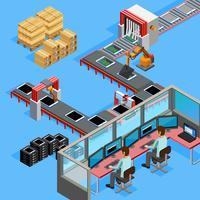 Affiche isométrique d'opérateurs de ligne de fabrication de convoyeur