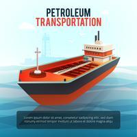 Affiche isométrique de pétrolier de transport pétrolier