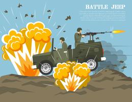 Affiche plate d'environnement de bataille de l'armée militaire vecteur
