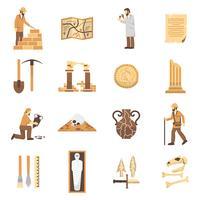 Ensemble d'icônes d'archéologie vecteur