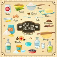 Set d'ingrédients de cuisson vecteur