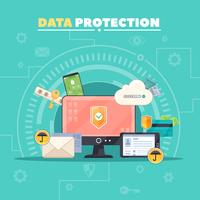 Affiche de composition à plat pour la protection des données vecteur