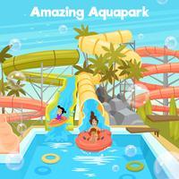 Modèle d'Affiche de parc aquatique vecteur