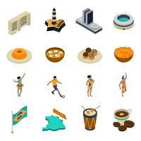Brésil isométrique Icons Set