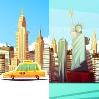 New York Deux bannières verticales
