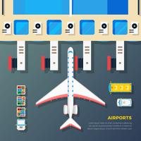 Aéroport, tablier, avion, jet, pont vecteur