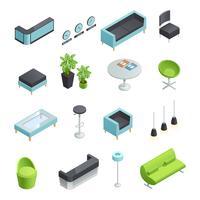 Icônes isométriques intérieures de la salle