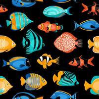 Modèle sans couture de poissons tropicaux