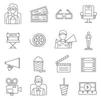 Black Line Cinema Icons Set vecteur
