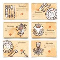 Ensemble de menu vintage avec des images de couverts