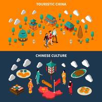 Bannières isométriques touristiques de Chine vecteur
