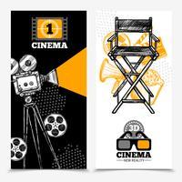 Bannières verticales de cinéma vecteur