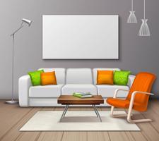 Affiche réaliste de maquette de couleurs intérieures modernes vecteur