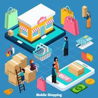Concept isométrique de shopping mobile vecteur