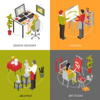 Art Studio isometric 2x2 Icons Set vecteur