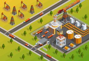 Affiche isométrique des installations de raffinage de l'industrie pétrolière