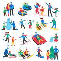 Famille Sports d'hiver Icons Set vecteur