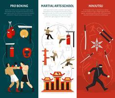 Ensemble de bannières verticales arts martiaux vecteur