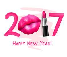 Affiche du nouvel an rouge à lèvres vecteur