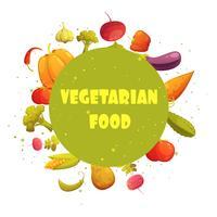 Affiche végétarienne de composition de légumes ronde de nourriture vecteur