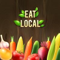 Affiche de légumes agricoles écologiques vecteur