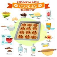 Illustration des recettes de cuisson des ingrédients vecteur