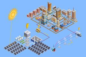 Affiche isométrique de station solaire vecteur