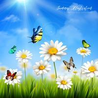 Fleur avec fond papillon vecteur