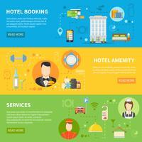 Ensemble de bannières de services hôteliers vecteur
