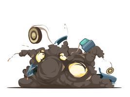 Carton rétro d'explosion de voiture piégée vecteur