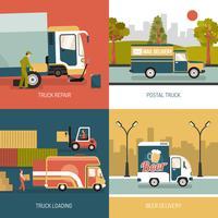 Camions de livraison 2x2 Design Concept vecteur
