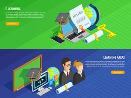 Ensemble de bannières d'apprentissage en ligne vecteur