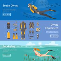 Plongée Et Snorkeling Bannières Horizontales