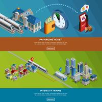 Railway Homepage 2 Isometric Banners Design vecteur