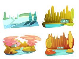 Nature Seasons 4 Icons Set Retro vecteur