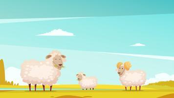 Affiche de dessin animé de moutons paissant sur des terres agricoles