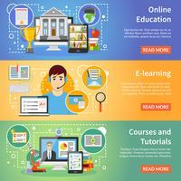 Education en ligne 3 bannières plates vecteur