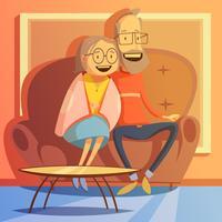 Illustration de couple de personnes âgées vecteur