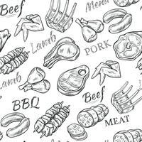 Modèle sans couture croquis de viande vecteur