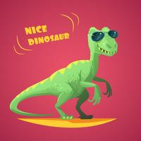 Dinosaurus Cartoon Toy Red Background Poster