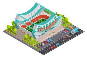 Bannière de composition extérieure isométrique de stade de sport vecteur