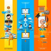 Jeu de bannières verticales pour l'éducation en ligne vecteur